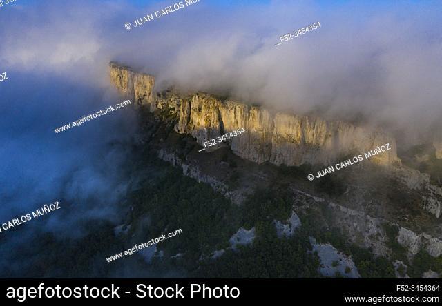 Aerial View, Cliffs, Geological Landscape, Villasante de Montija, Merindad de Montija, Las Merindades, Burgos, Castilla y Leon, Spain, Europe