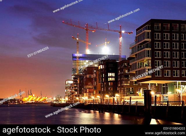 Hamburg Hafencity - Blick auf Baustelle Elbphilharmonie