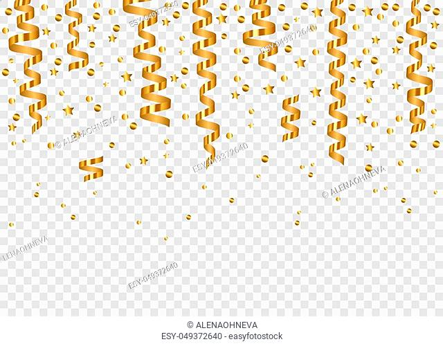 Falling glowing golden confetti and realistic hanging serpentine. Gold shiny festive tinsel isolated on transparent background