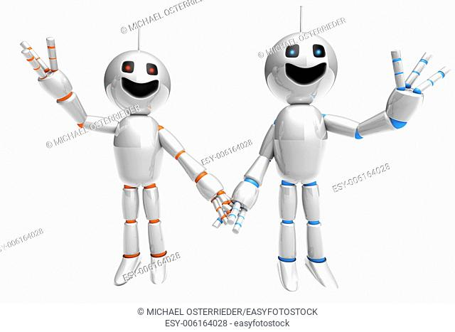 A cartoon couple holding hands and waving arms. 3d rendered Illustration