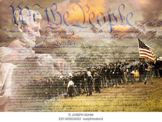 Composite image of Lincoln Memorial and Civil War soldiers in battle with U.S. Constitution
