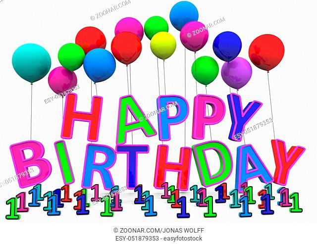 Happy Birthday Buchstaben hängen an Luftballons und davor sind Zahlen