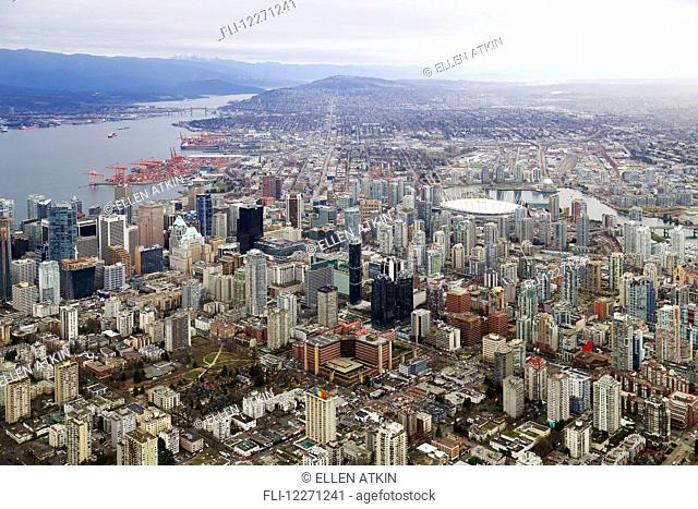Aerial view of buildings and businesses along Davie Street; Vancouver, British Columbia, Canada