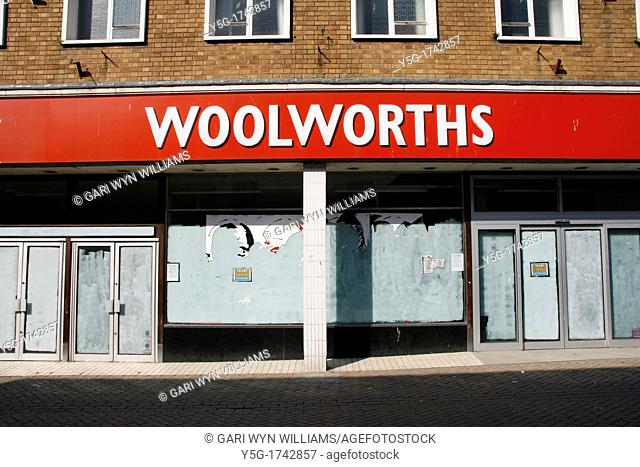 closed down woolworths department store in caernarfon, wales, great britain