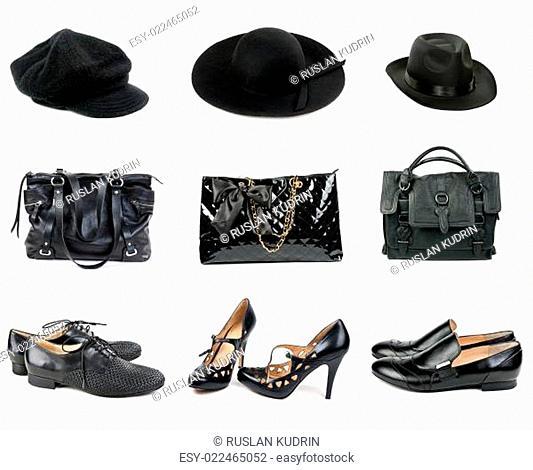 Three sets of hats, handbags and shoes