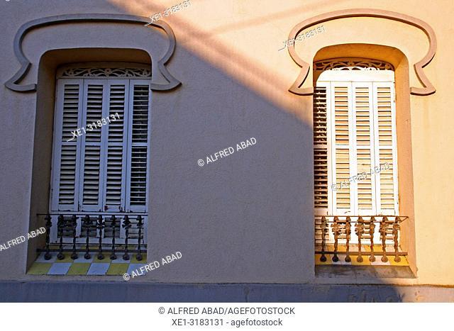 Modernist windows of Casa Mas Ros, Caldes de Malavella, Catalonia, Spain