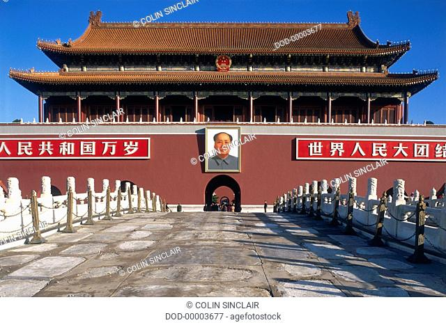 China, Asia, Beijing, Tiananmen Square, giant photograph of Chairman Mao Zedong hanging above Ming dynasty gate