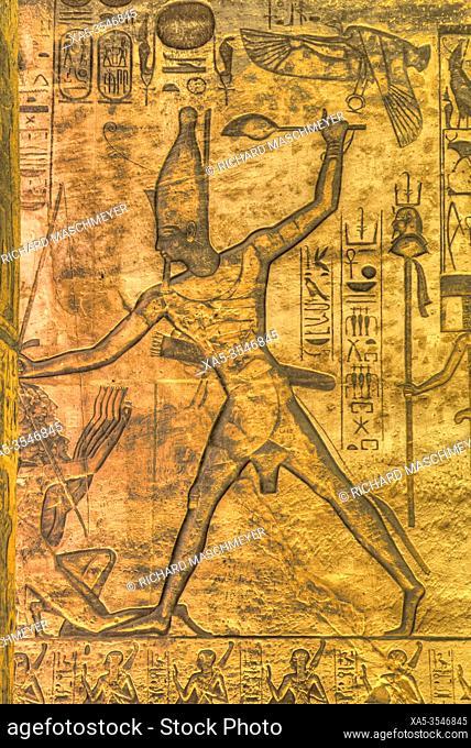 Ramses II, Sunken Relief, Hypostyle Hall, Ramses II Temple, UNESCO World Heritage Site, Abu Simbel, Egypt