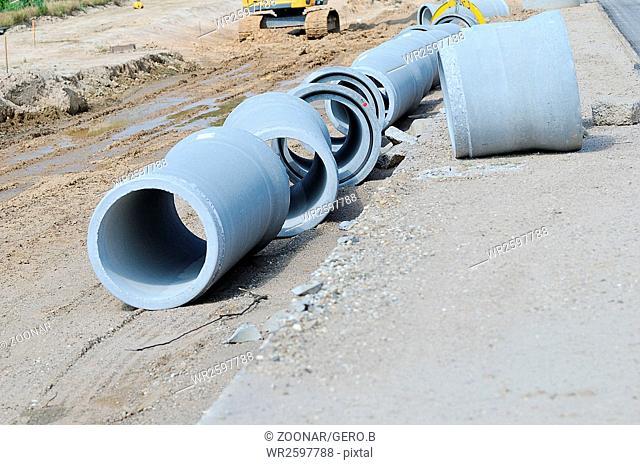 Spun concrete pipe at the construction site