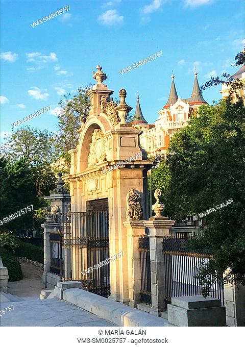 Cason del Buen Retiro entrance. The Retiro park, Madrid, Spain