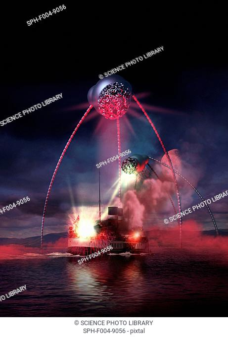 Alien invasion. Computer artwork based upon the H. G. Wells novel The War of the Worlds 1898, where aliens invaded the Earth from Mars
