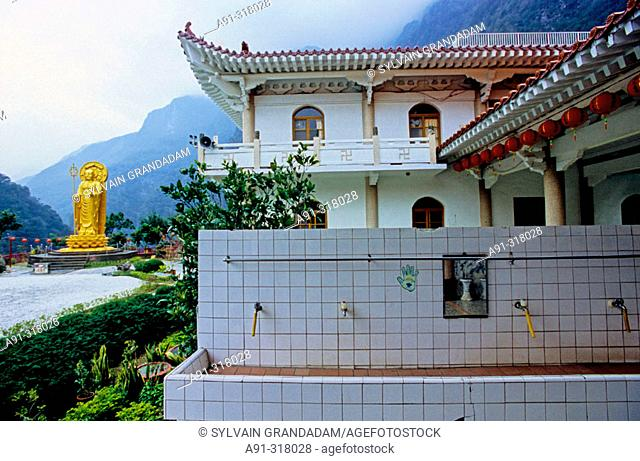 Hsiang-te Buddhist temple and monastery founded by Lady Venerable Master Ti-Chiao. The Taroko gorge in the Taroko National Park