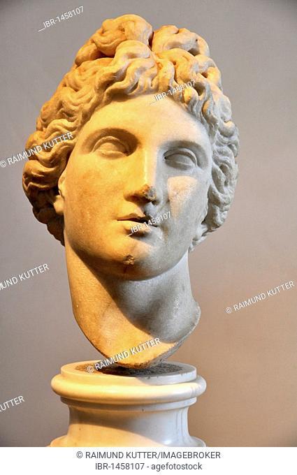 Ancient marble bust of god Apollo, Museo Palatino, Palatino, Rome, Lazio, Italy, Europe