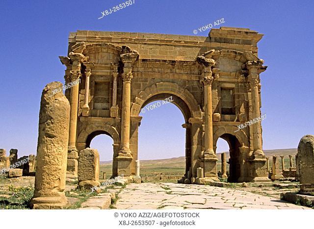 algeria, West Gate Roman site of Timgad UNESCO World Heritage Site Algeria