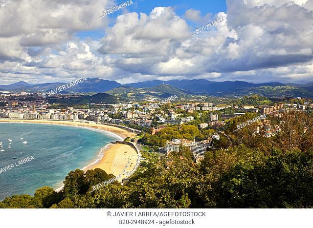 La Concha Bay, Donostia, San Sebastian, Gipuzkoa, Basque Country, Spain, Europe