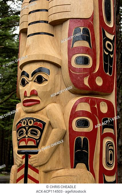 New pole details, by Christian White and apprentices at Hiellen Longhouse Village, Tow Hill, Haida Gwaii, formerly known as Queen Charlotte Islands