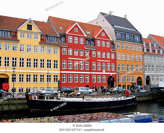 Copenhagen - houses and boats in the water front