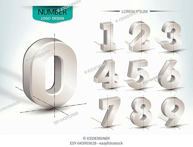 Realistic three dimensional, set of number, vector illustration