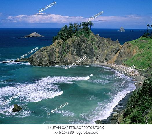 Rocky shoreline, Samuel H. Boardman State Park. Oregon. USA