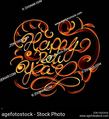 Happy new year isolated words lettering written with fire flame or smoke on black background