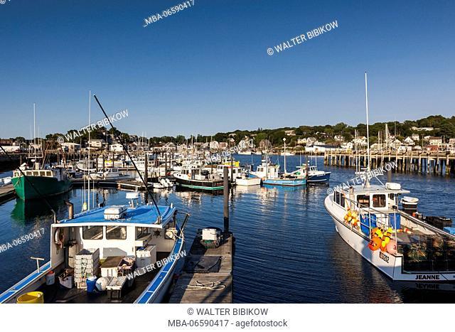 USA, Massachusetts, Cape Ann, Gloucester, Inner Harbor, fishing boats