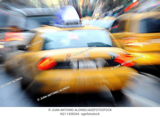Taxicabs and traffic. Manhattan. New York, New York. USA