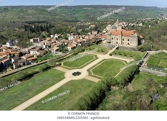 France, Puy de Dome, Saint Saturnin, the casle, thirteenth-century fortress (aerial view)