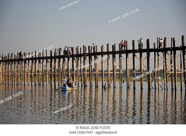 Amarapura, Mandalay, Myanmar, Burma, Asia, Thaungthaman, boat, bridge, famous, lake, long, popular, reflection, teka, sunset, touristic, travel, wood