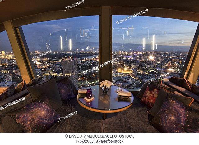 Looking out on the Bangkok cityscape from Vertigo TOO Bar, Bangkok, Thailand