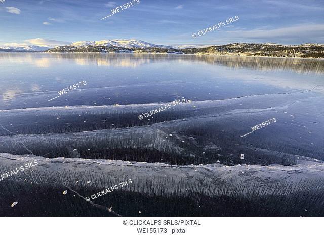 The frozen lake of Limingen Rorvik Børgefjell National Park Trøndelag Norway Europe