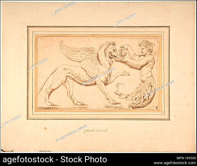 Foliate Amor Pouring a Drink for a Griffin. Artist: Charles Errard le fils (French, Nantes ca.1606/09-1689 Rome); Date: 17th century; Medium: Pen and brown ink