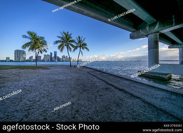 Rickenbacker Causeway Bridge and Biscayne Bay. Miami. Florida. USA