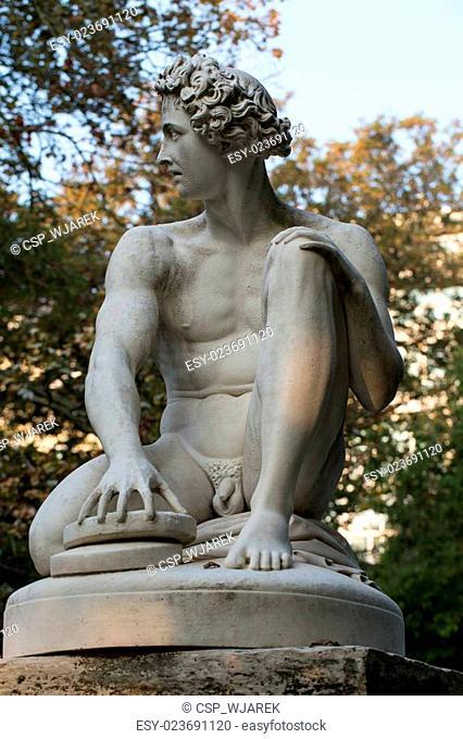 Paris - Luxembourg Gardens. Sculpture of Archidamas by Philippe Joseph Henri Lemaire