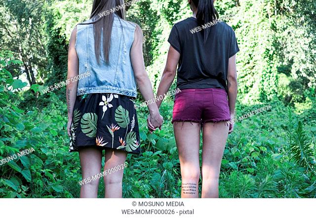 Back view of two fashionable female friends standing hand in hand, partial view