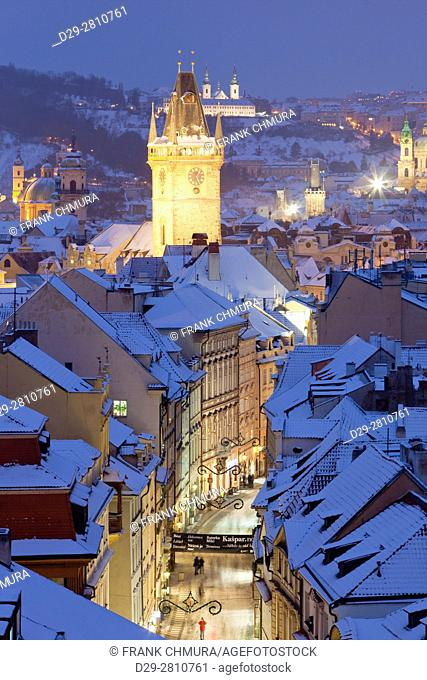Czech Republic, Prague - Old Town Hall tower and roofs the Old Town in winter