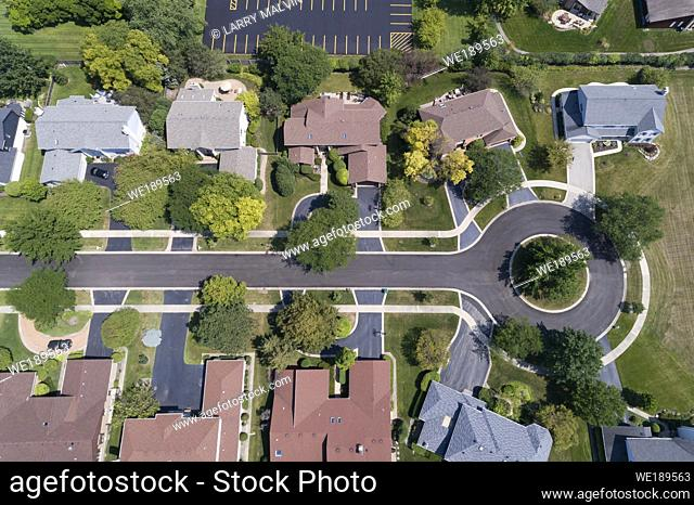 Aerial view of a tree-lined neighborhood in a cul-de-sac in a Chicago suburban city in summer
