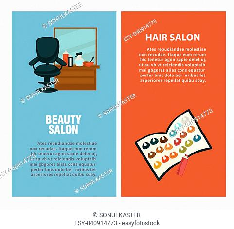 Hairdresser beauty salon information flat design template for hair coloring and haircut perm styling. Vector professional coiffeur equipment hair dye