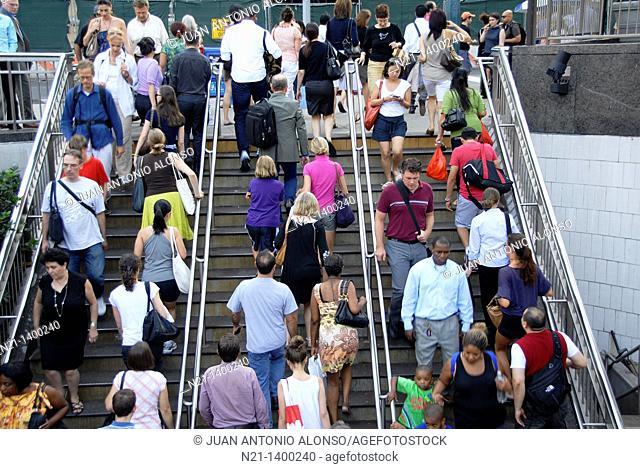 Columbus Circle subway station stairs. West. Upper West Side Manhattan, New York, New York. USA