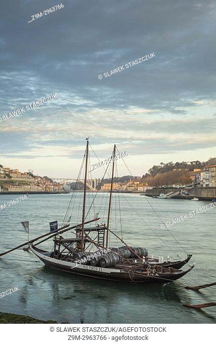Dawn on river Douro in Porto, Portugal