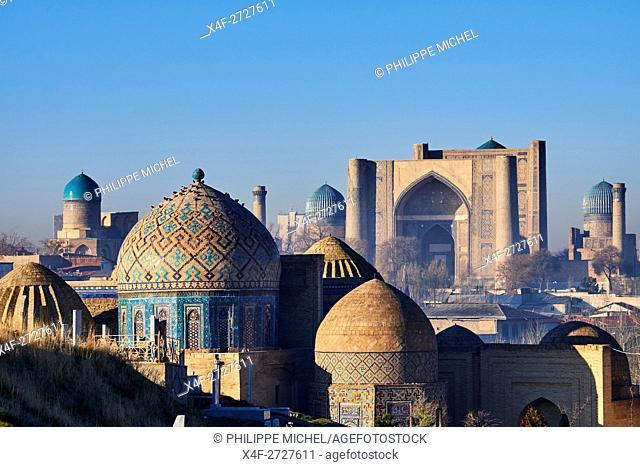 Uzbekistan, Samarkand, Unesco World Heritage, the Reghistan, Shah i Zinda mausoleum, Bibi Khanoum mosque