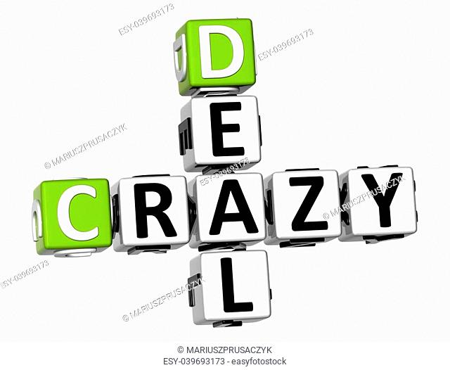 3D Crazy Deal Crossword on white background