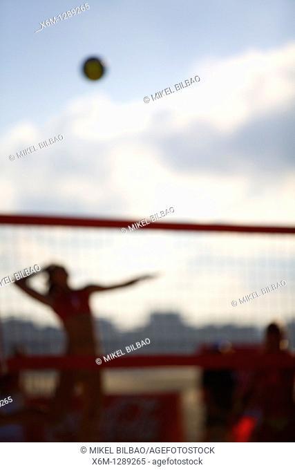 sportwomen playing a beach volleyball match  Laredo beach, Cantabria, Spain, Europe
