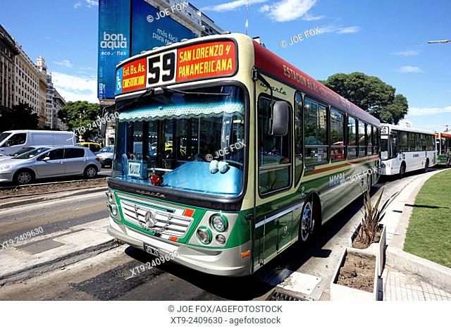 colourful city bus colectivos in downtown Buenos Aires Argentina