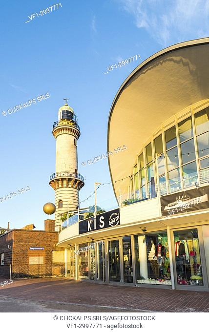 Warnemünde, Rostock, Baltic coast, Mecklenburg-Western Pomerania, Germany. Lighthouse and Teepott Building