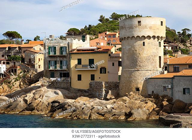 Tower of the port, Giglio village, Giglio Island, Tuscan archipelago, Tuscany, Italy, Europe
