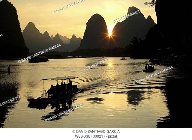 China, Guangxi, boats to transport tourists on Li river near Guilin