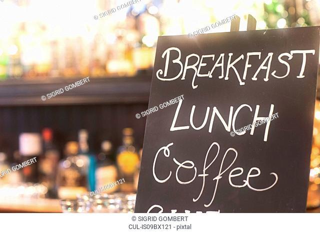 Blackboard advertising meals in pub