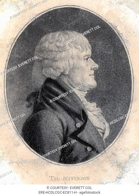 Thomas Jefferson, third President of the United States. engraving by Saint-Mémin ca. 1804