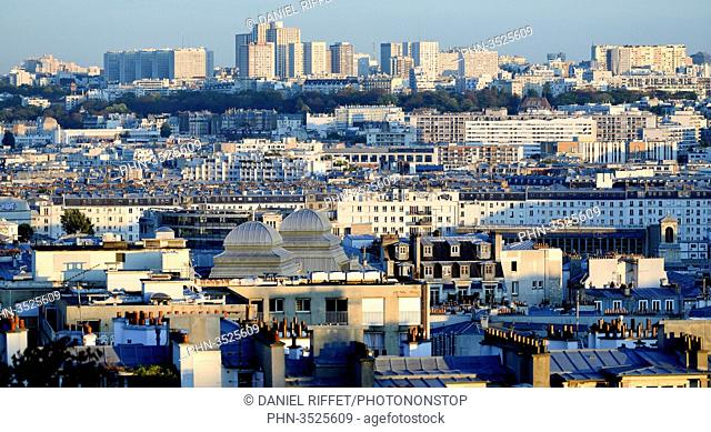 France, Paris, hill of Montmartre, panoramic view on the rooftops of Paris