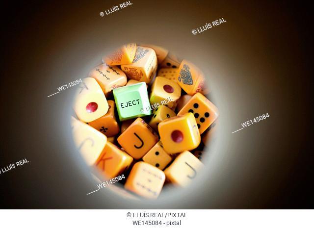 Eject, dados, as, suerte, destino, juego, positivo